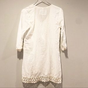 Johnny Was Tops - Johnny Was White crochet tunic blouse